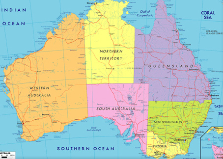 Map Of Australia Natural Features.Australia Home